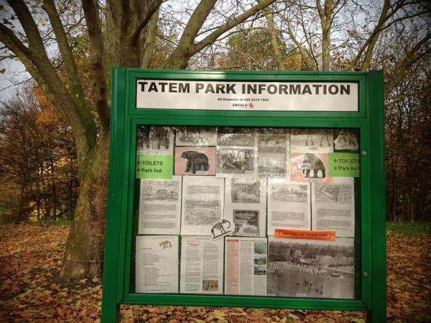 The notice board in Tatem Park displays information about the missing bones