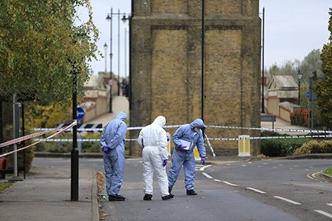 A team of forensics investigate the scene in Enfield Island Village on November 6