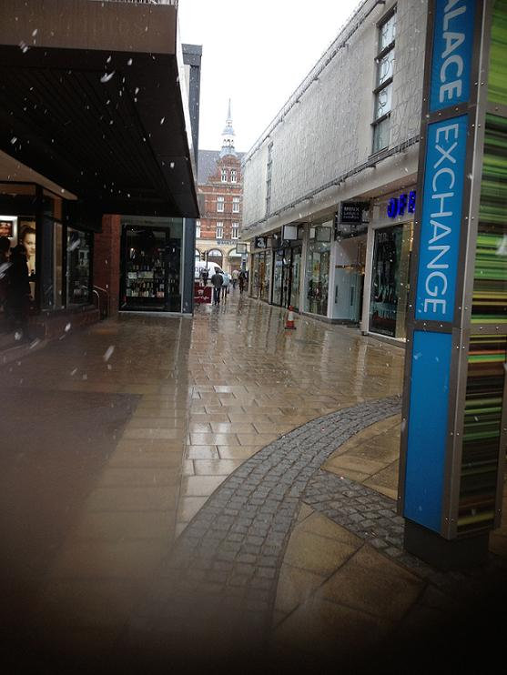 Snow falling in Palace Exchange shopping centre on Monday afternoon