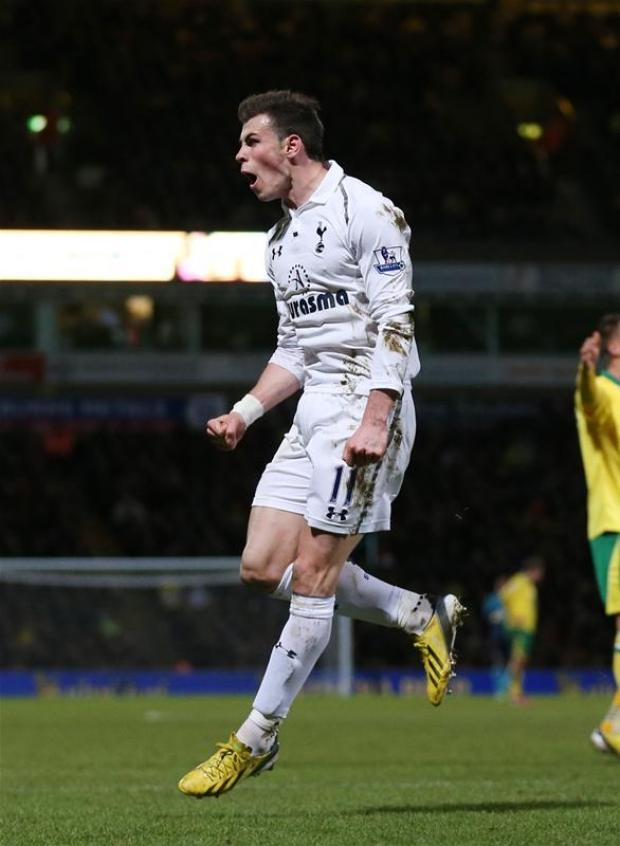 Gareth Bale celebrates scoring against Norwich in last night's 1-1 draw at Carrow Road. Picture courtesy of Action Images