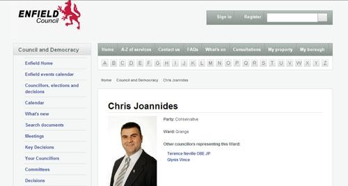 Councillor Chris Joannides' profile remains on Enfield Borough Council's website