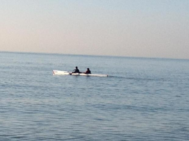 Maia and Dylan paddling to France today