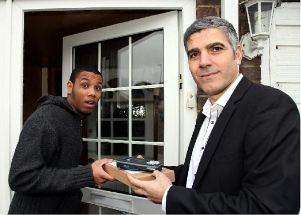 Mr Leonce's surprise as George Clooney lookalike hand-delivered his package last week