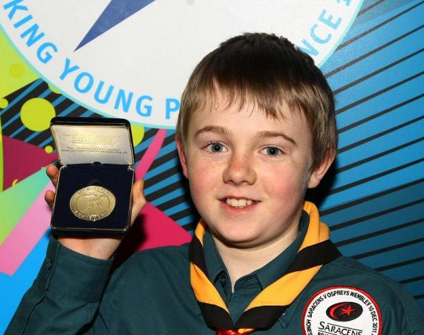 Jack Fereday with his Jack Petchey award