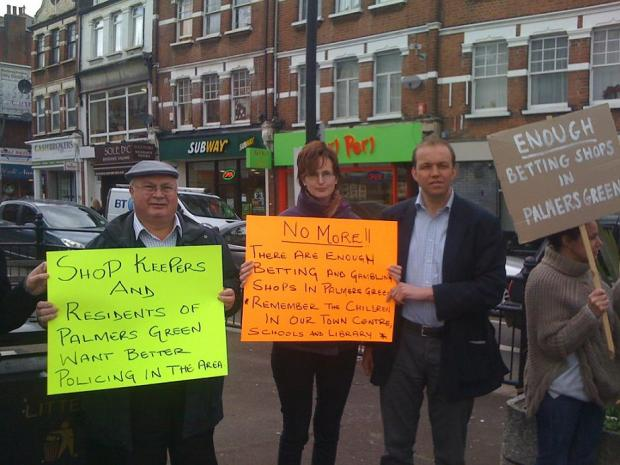 David Burrowes joined traders to protest against betting shops in Palmers Green in April 2013