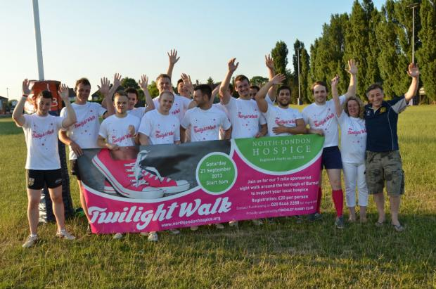 Finchley Rugby Club players help launch North London Hospice's new Twilight Walk.
