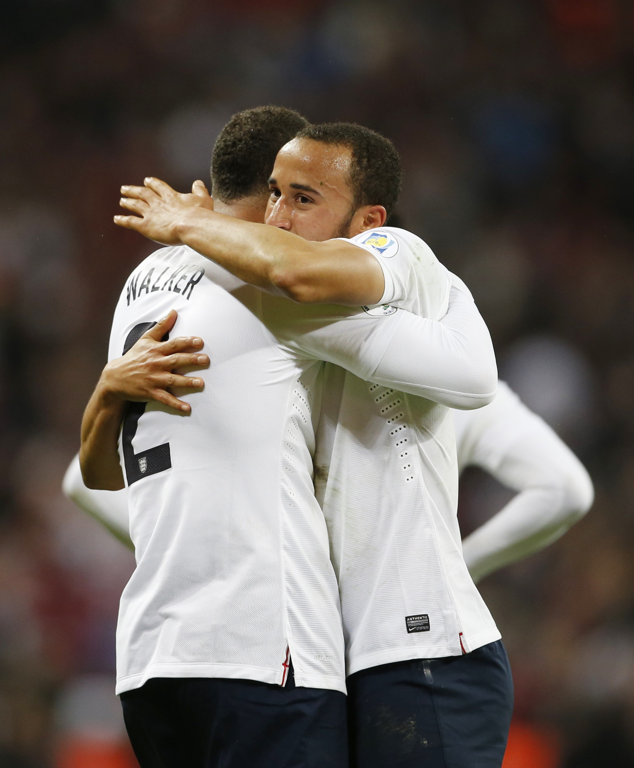 Kyle Walker congratulates Spurs teammate Andros Townsend. Picture: Action Images