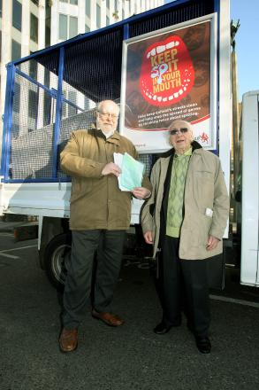 Chris Bond and Monty Meth in 2012 campaigning for an anti-spitting by-law