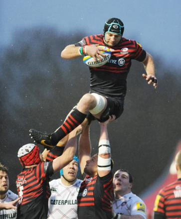 Steve Borthwick of Saracens collects a lineout. Picture: Action Images