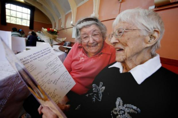 Ivy Gifford, sister of former Spurs left-back Charlie Withers, celebrates her  100th birthday