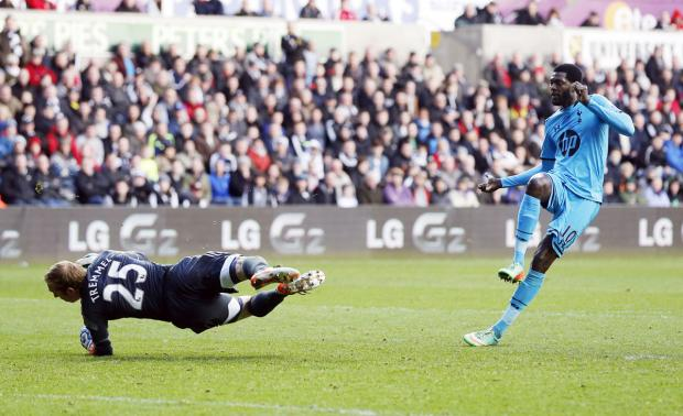 Enfield Independent: Emmanuel Adebayor scores Spurs' third goal. Picture: Action Images