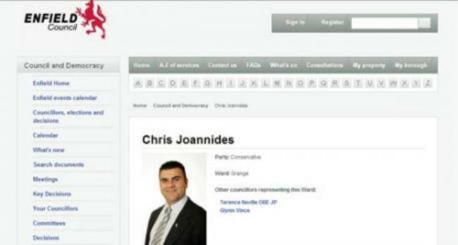 Chris Joannides Councillor profile is still on the Enfield Council website