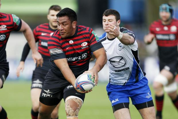 Mako Vunipola of Saracens (L) in action with Robbie Henshaw of Connacht. Picture: Action Images