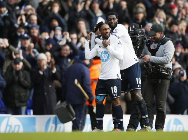 Enfield Independent: Adebayor and Defoe celebrate after the final whistle
