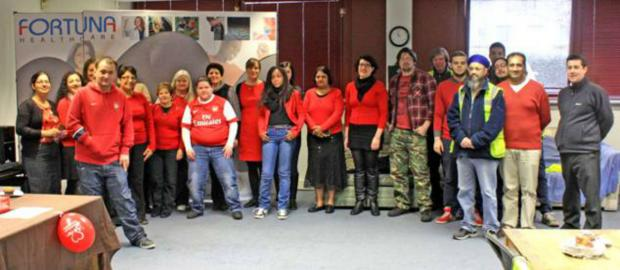 Staff at Fortuna Healthcare rocking red to raise money for the British Heart Foundation