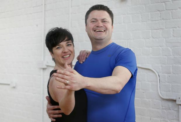 Tony Hall with his wife and dance partner, Fiona Del-Gatto.