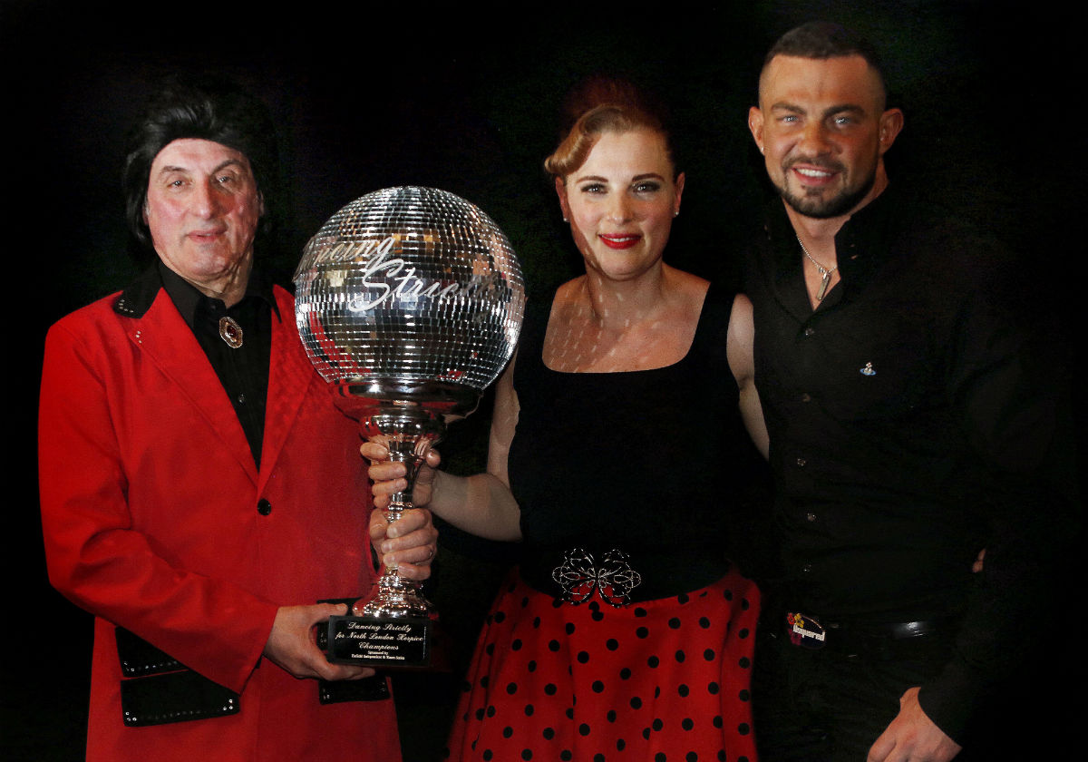 Winners of Dancing Strictly 2014, Till Pini and Lilian Taibi, with Strictly Come Dancing star Robin Windsor