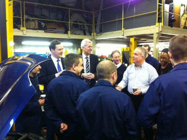 Chancellor George Osborne with Nick de Bois MP  at Ridgeway garages last month. This company will be at this year's jobs fair