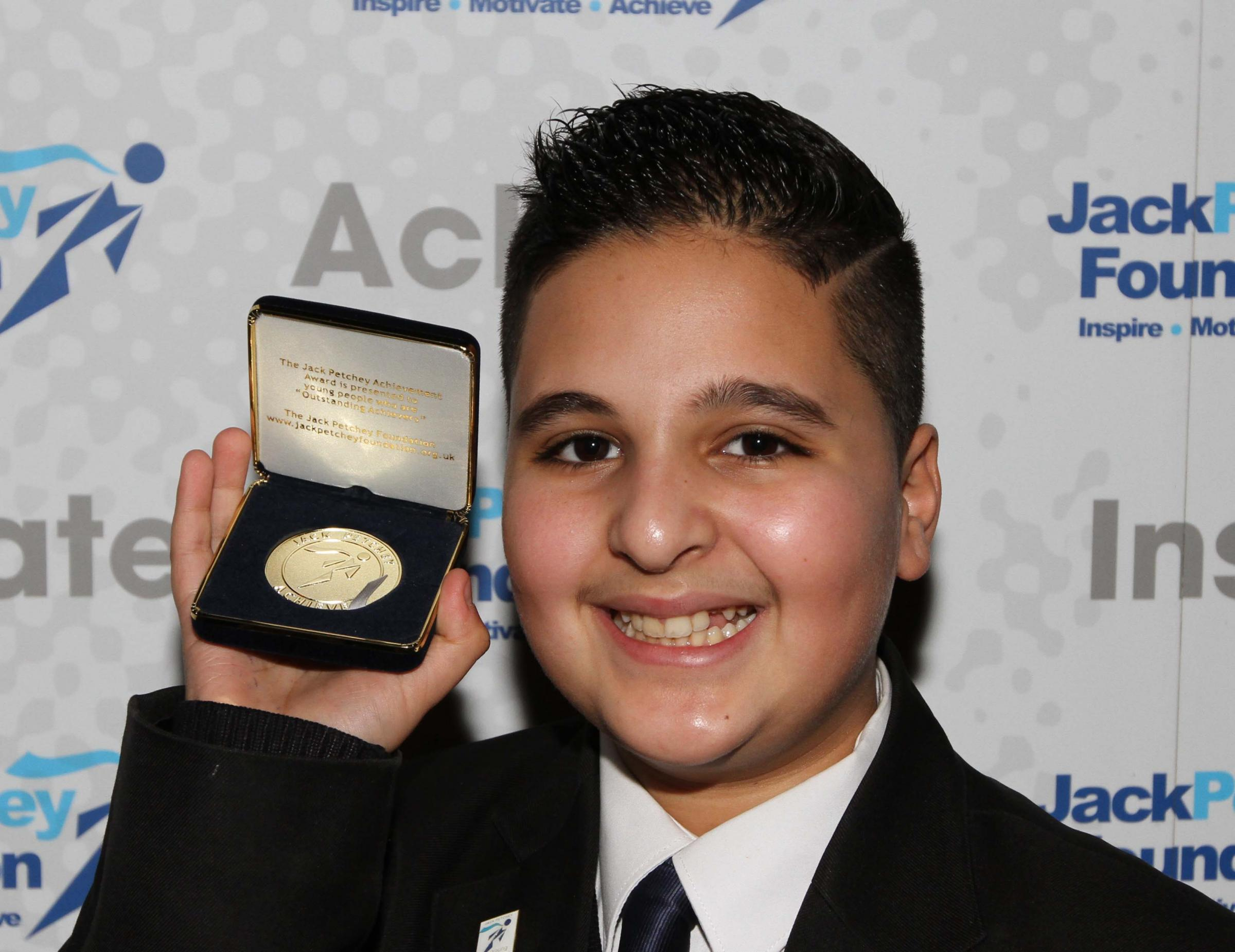 Twelve-year-old Chris Charalambous was one of 137 Enfield students to win a Jack Petchey Foundation Achievement Award