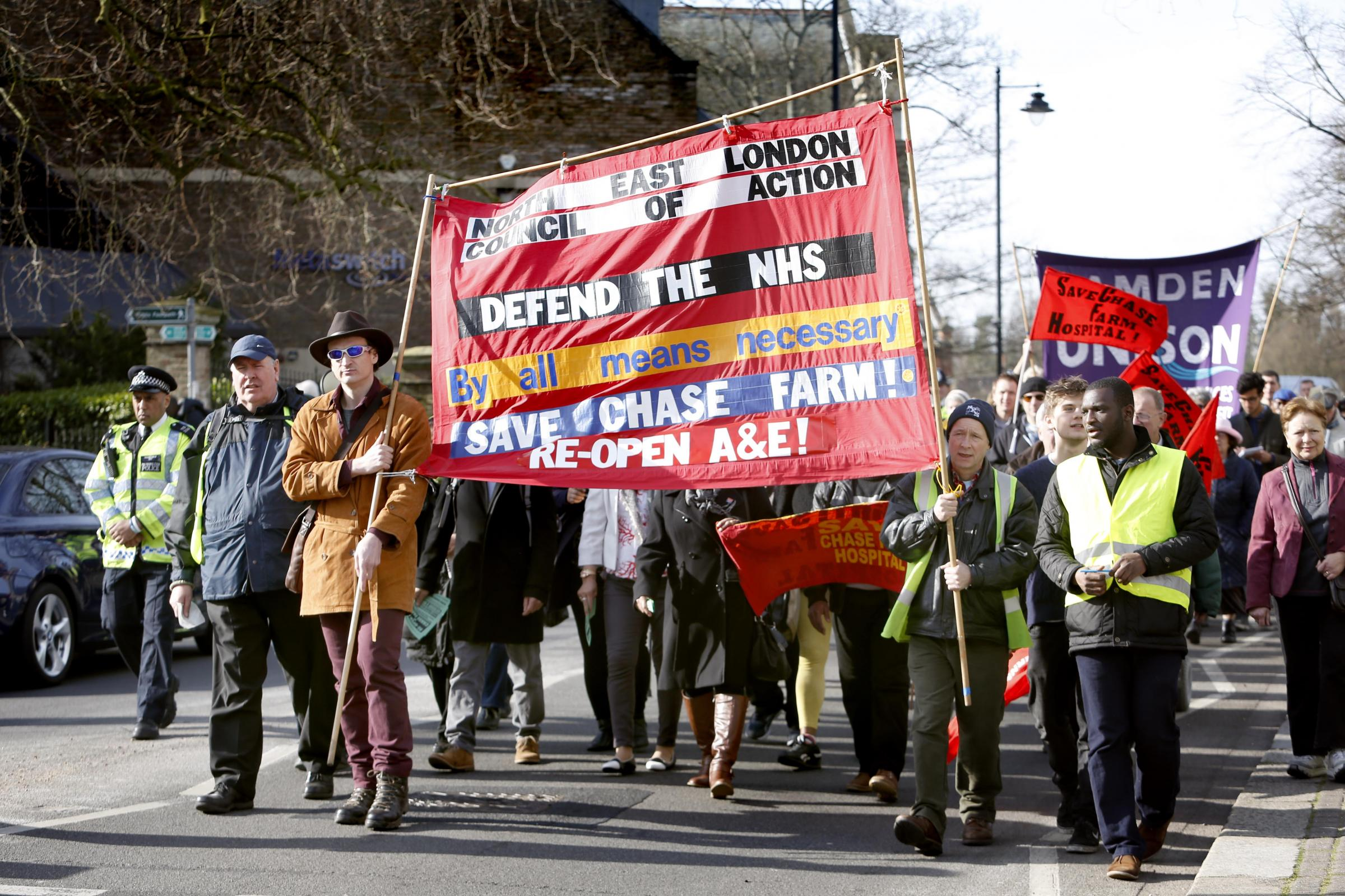 The North East London Council of Action organised a march against the A&E closure at Chase Farm Hospital