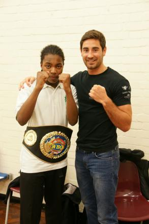 Boxer Frank Buglioni at Oaktree School