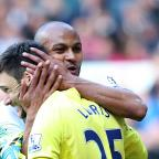 Enfield Independent: Younes Kaboul (left) congratulates Hugo Lloris (right) after his penalty save against Fulham last weekend. Picture: Action Images