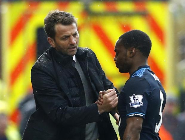 Tim Sherwood congratulates goalscorer Danny Rose. Picture: Action Images
