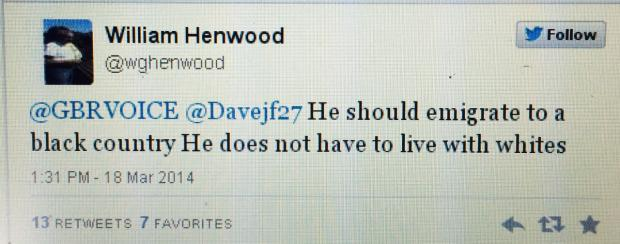 Tweet made by William Henwood on March 18