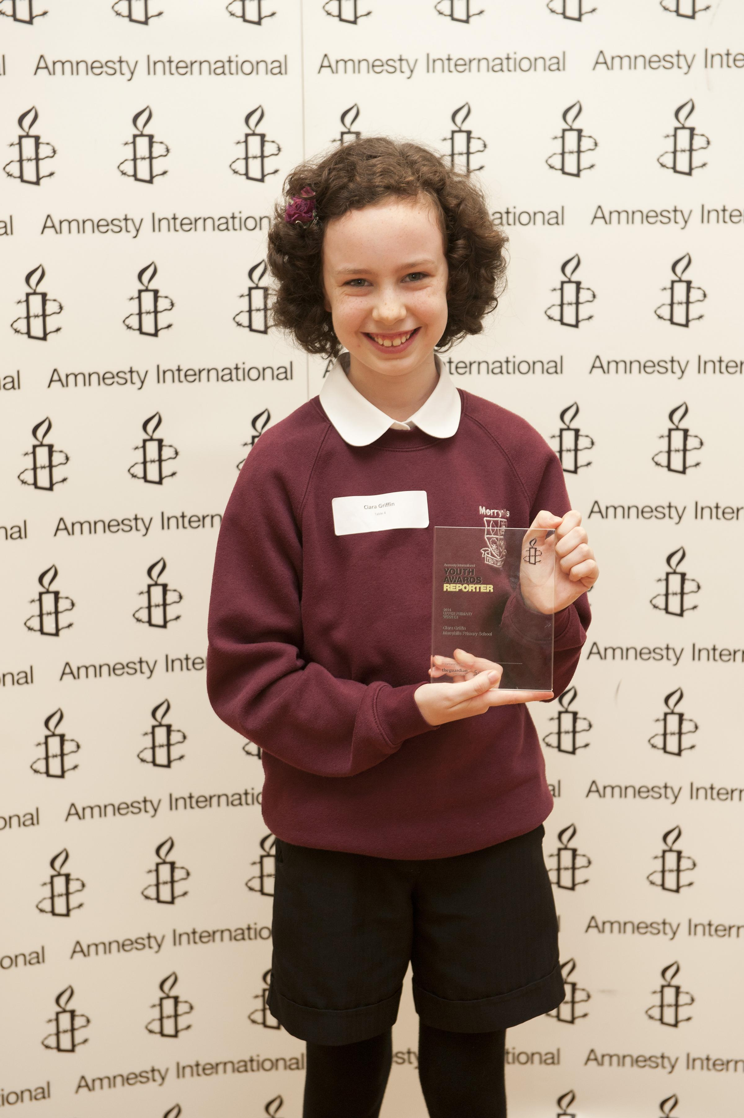 Ciara Griffin, 11 of Merryhills Primary School in Enfield, was crowned Young Human Rights Reporter