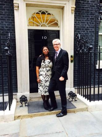 Picture tweeted by Enfield North MP Nick de Bois with Yvonne Lawson outside 10 Downing Street