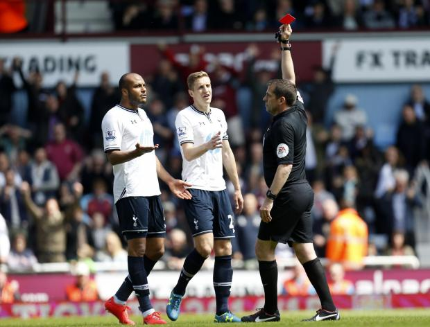The game turned when last-man Younes Kaboul was shown red for bringing down Stewart Downing