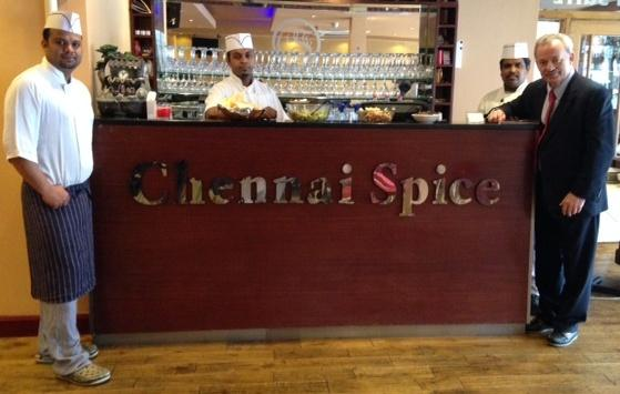 Chennai Spice owners with Andy Love, Edmonton MP