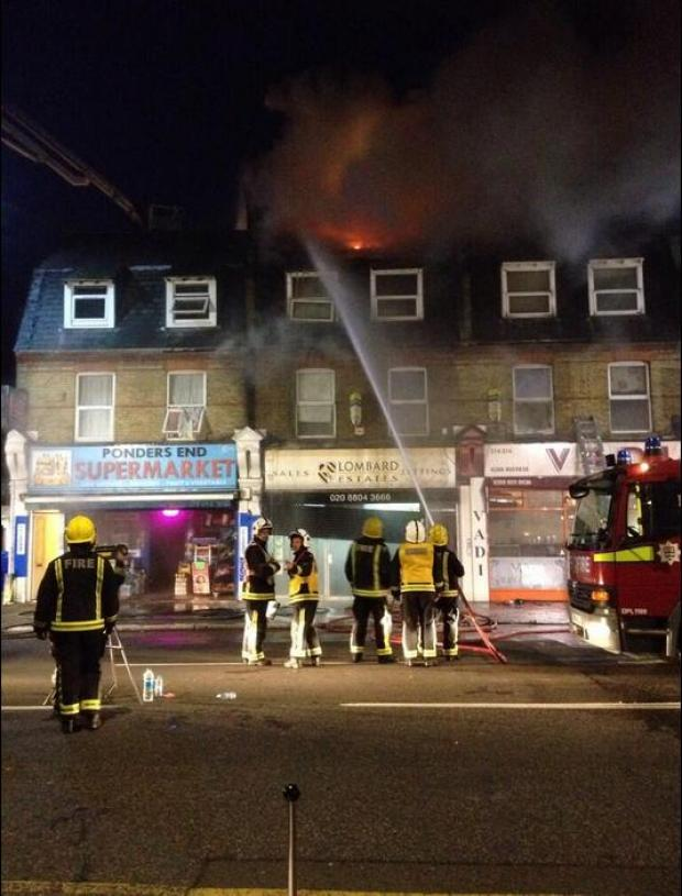 Enfield Independent: Fire crews on the scene since early this morning, photo tweeted by Hart London blueteam