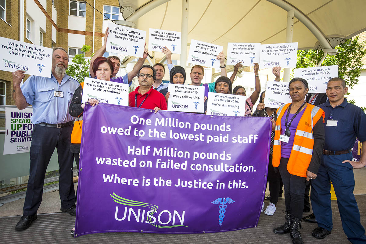 Hospital staff staging their protest outside Barnet Hospital today.