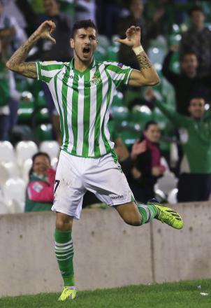 Álvaro Vadillo celebrates scoring in the Europa League. Picture: Action Images