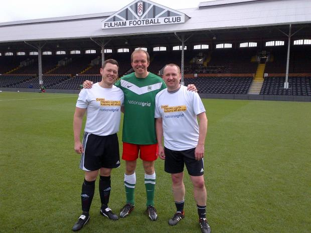 Enfield Independent: David Burrowes playing at Craven Cottage, Fulham, for the cystic fibrosis trust