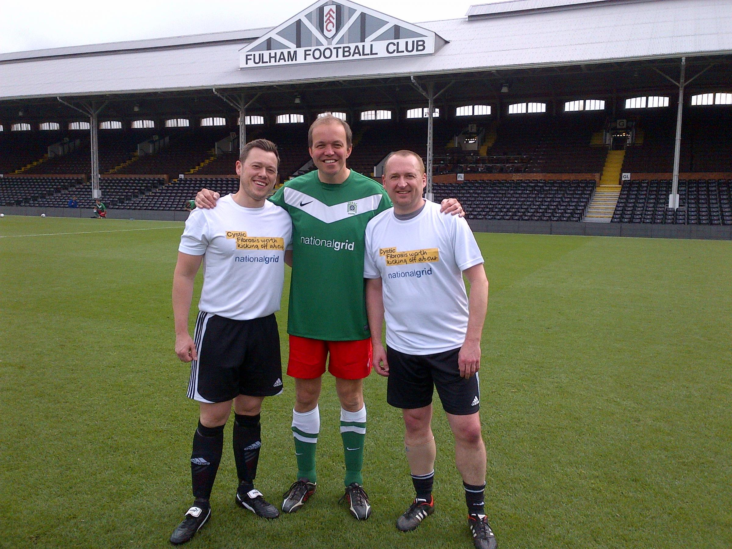 David Burrowes playing at Craven Cottage, Fulham, for the cystic fibrosis trust