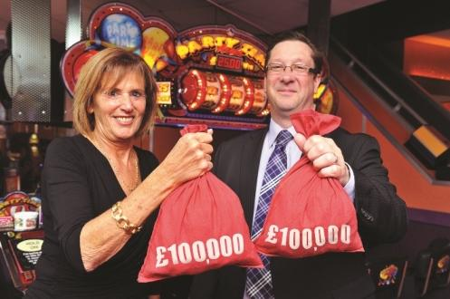 Phil Gibbs of Cashino and CHIPS charity co-founder Linda Lindsay
