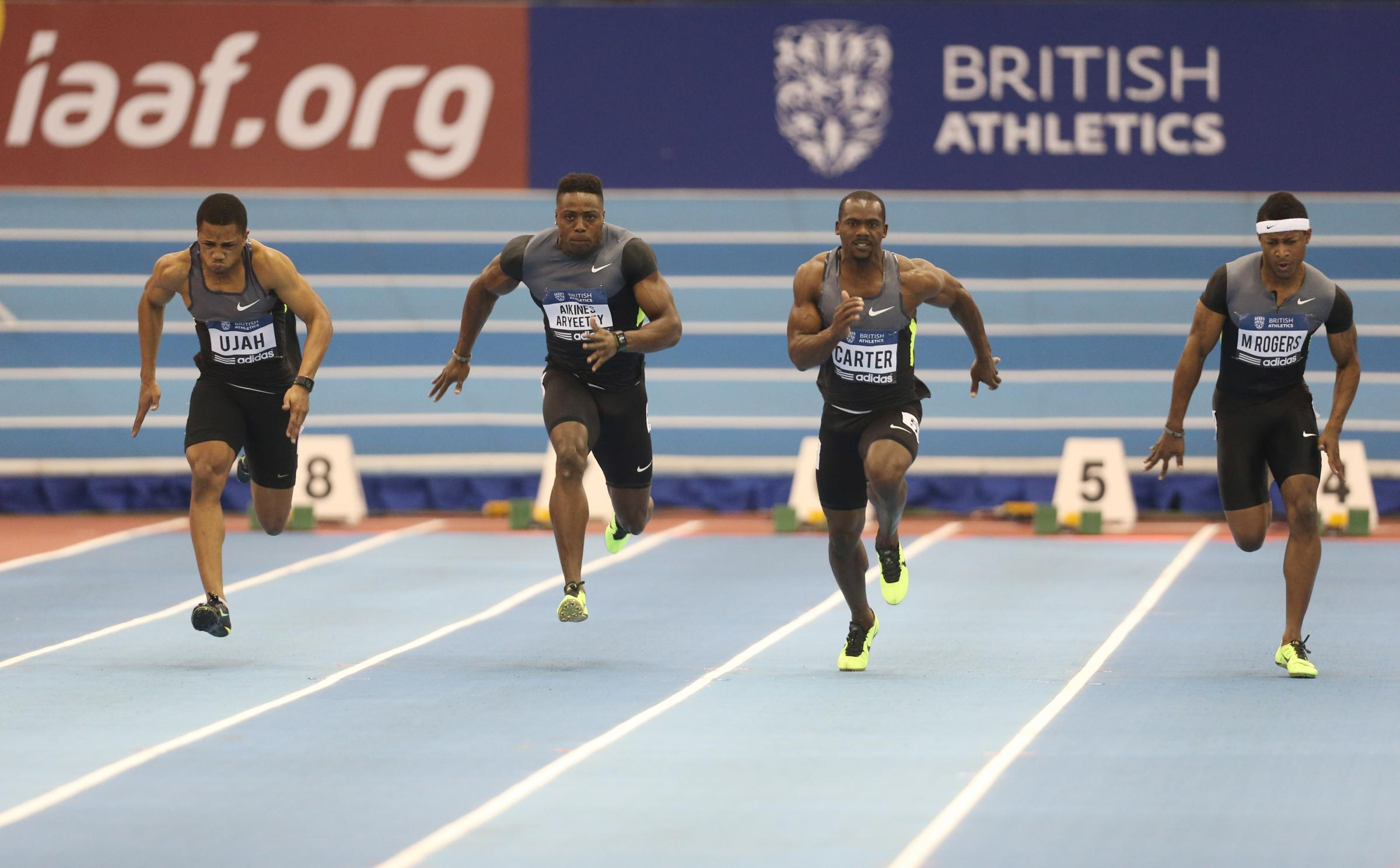 Chijindu Ujah (far left) in the 2013 British Athletics Grand Prix