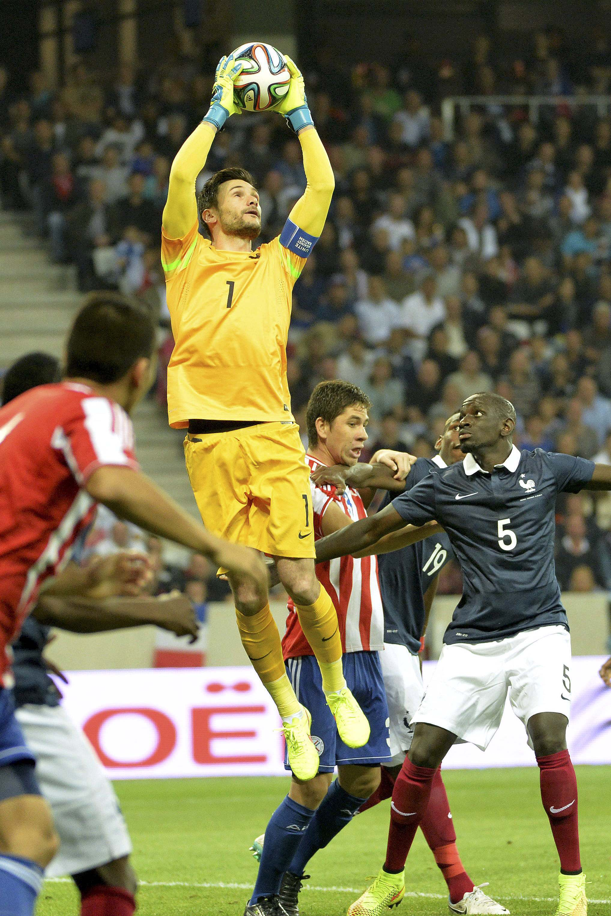 Hugo Lloris claims a high ball for France against Paraguay. Picture: Action Images
