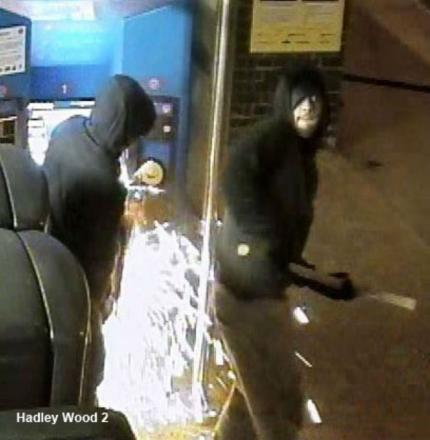 CCTV pictures shows gang using angle grinders at Hadley Wood station