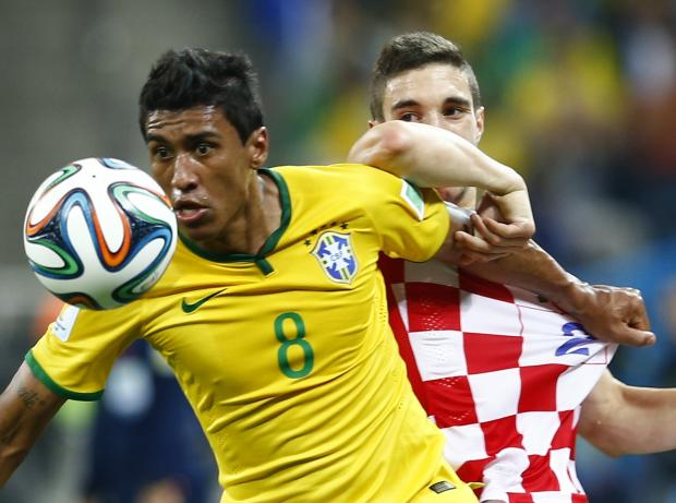 Paulinho battles with Croatia's Sime Vrsaljko. Picture: Action Images