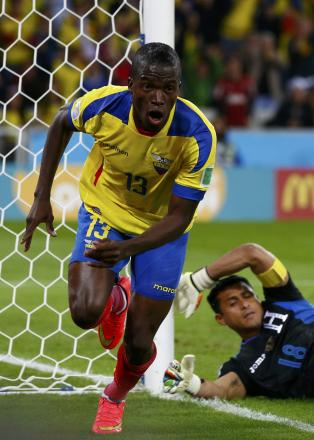 Enner Valencia wheels away in celebration after scoring against the Honduras. Picture: Action Images