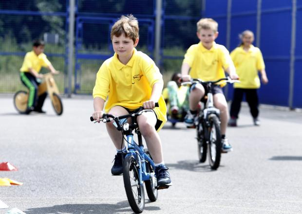 Pupils from St Andrews School joined in the Tour d'Enfield cycling fun