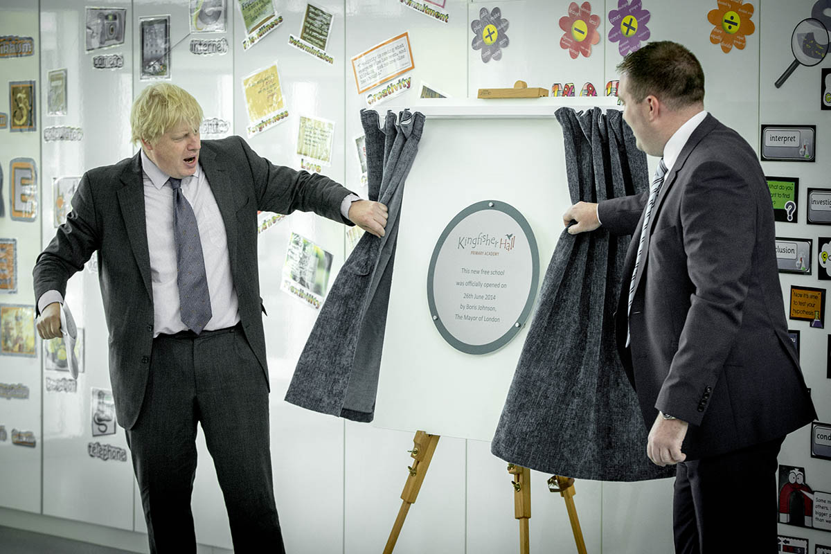 Boris Johnson with former Kingfisher Hall headteacher Matthew Laban
