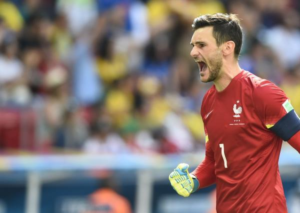 Hugo Lloris celebrates Paul Pogba's opener for France. Picture: Action Images