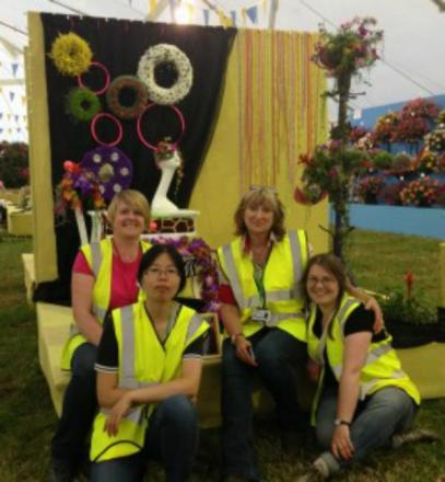 Capel Manor college's floristry team at Hampton court palace