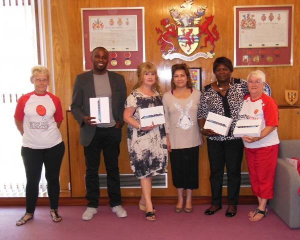 Pam Blake, Breathe Easy, Iseka Luala, Central African Youth in Enfield, Gill Antoniou, Home Start, Cllr Yasemin Brett, Audrey Lucas, Enfield Caribbean Association, and Sylvia