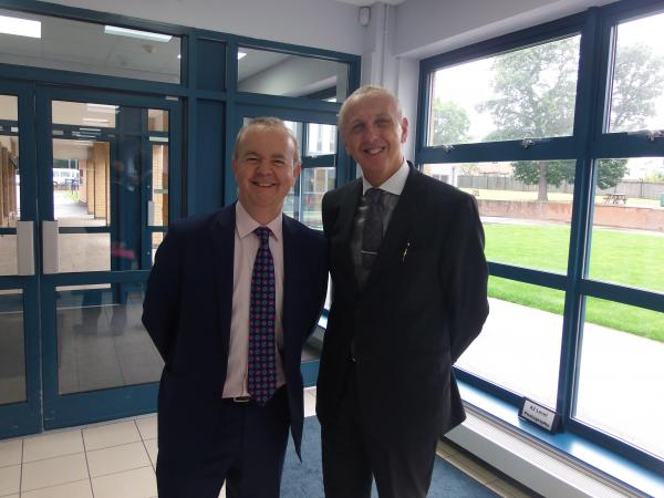 Headteacher Derrick Brown with Ian Hislop at Ashmole Academy