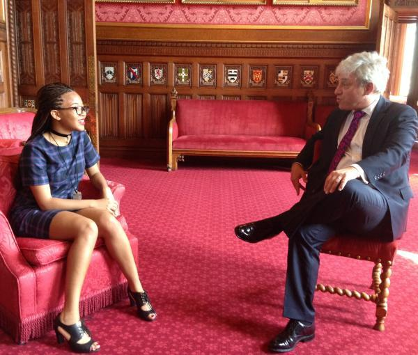 Maya Caddle and John Bercow, speaker of the house, talk politics